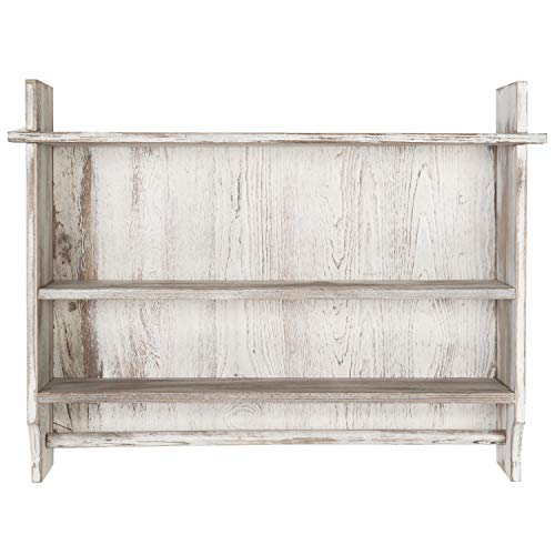 MyGift 3 Shelf Whitewashed Wall Mounted Bathroom Organizer Rack With Towel Bar 0 3