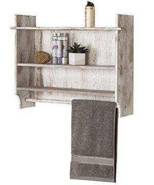 MyGift 3 Shelf Whitewashed Wall Mounted Bathroom Organizer Rack With Towel Bar 0 300x360