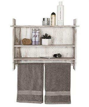 MyGift 3 Shelf Whitewashed Wall Mounted Bathroom Organizer Rack With Towel Bar 0 5 300x360
