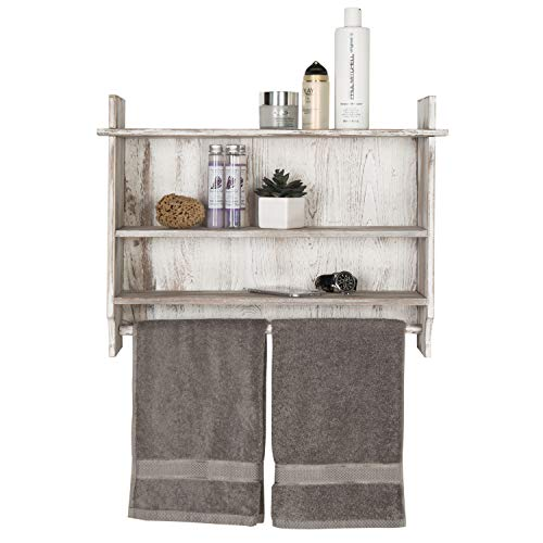 MyGift 3 Shelf Whitewashed Wall Mounted Bathroom Organizer Rack With Towel Bar 0 5