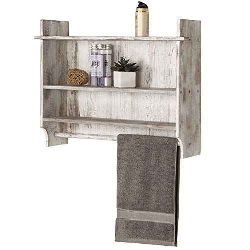 MyGift 3 Shelf Whitewashed Wall Mounted Bathroom Organizer Rack With Towel Bar 0