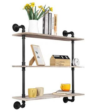 MyGift 3 Tier Rustic Wood Wall Mounted Floating Display Shelf With Black Industrial Style Pipe Brown 0 300x360
