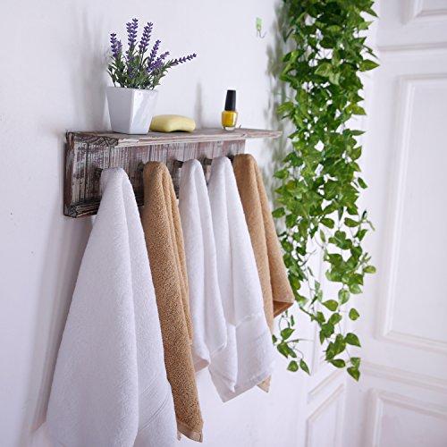 MyGift 5 Hook Rustic Wood Wall Mounted Floating Bathroom Shelf And Towel Rack 0 0