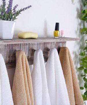 MyGift 5 Hook Rustic Wood Wall Mounted Floating Bathroom Shelf And Towel Rack 0 2 300x360