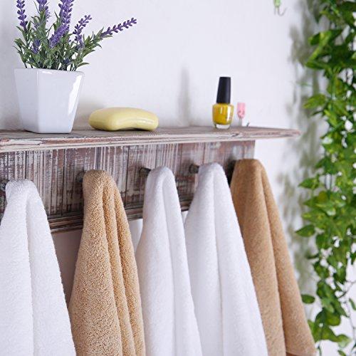 MyGift 5 Hook Rustic Wood Wall Mounted Floating Bathroom Shelf And Towel Rack 0 2
