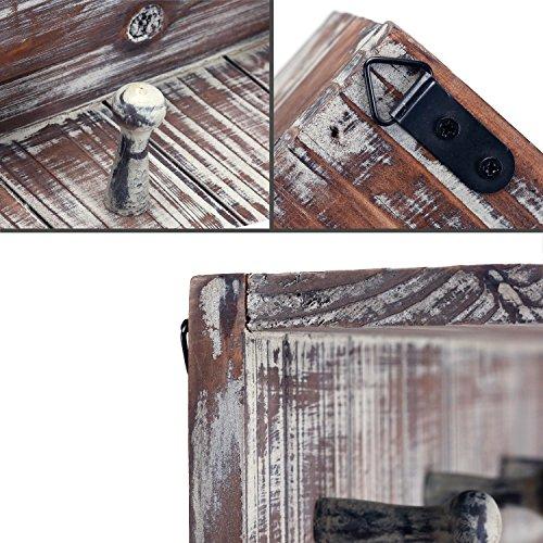 MyGift 5 Hook Rustic Wood Wall Mounted Floating Bathroom Shelf And Towel Rack 0 3