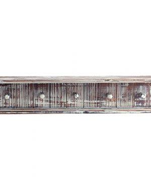 MyGift 5 Hook Rustic Wood Wall Mounted Floating Bathroom Shelf And Towel Rack 0 4 300x360