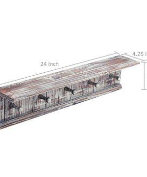MyGift 5 Hook Rustic Wood Wall Mounted Floating Bathroom Shelf And Towel Rack 0 5 300x360