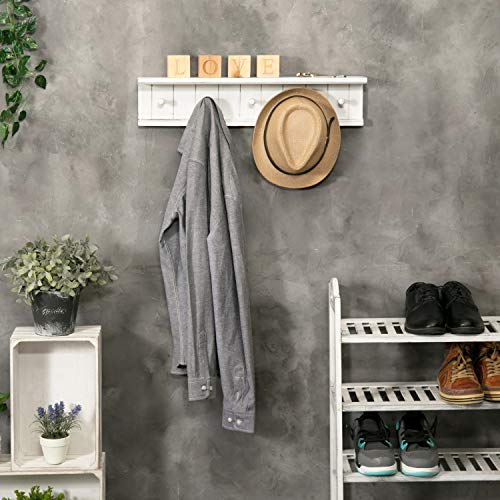 MyGift 5 Hook Vintage White Wood Floating Bathroom Shelf Towel Rack 0 0