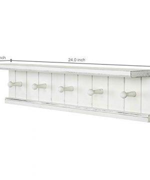 MyGift 5 Hook Vintage White Wood Floating Bathroom Shelf Towel Rack 0 1 300x360