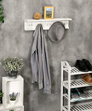 MyGift 5 Hook Vintage White Wood Floating Bathroom Shelf Towel Rack 0 2 300x360