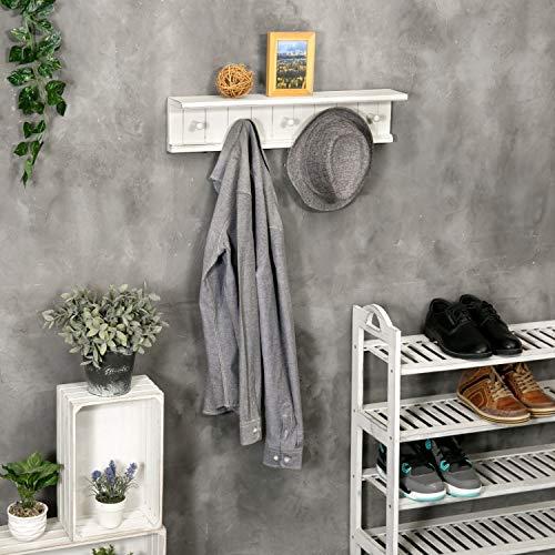 MyGift 5 Hook Vintage White Wood Floating Bathroom Shelf Towel Rack 0 2