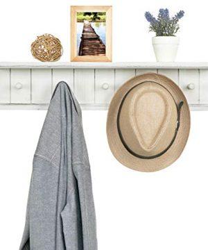 MyGift 5 Hook Vintage White Wood Floating Bathroom Shelf Towel Rack 0 3 300x360
