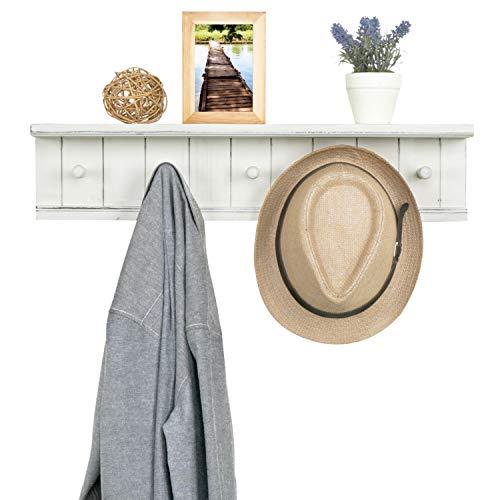 MyGift 5 Hook Vintage White Wood Floating Bathroom Shelf Towel Rack 0 3