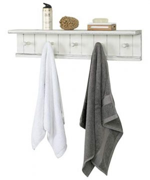 MyGift 5 Hook Vintage White Wood Floating Bathroom Shelf Towel Rack 0 300x360