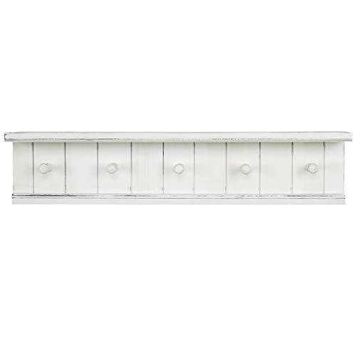 MyGift 5 Hook Vintage White Wood Floating Bathroom Shelf Towel Rack 0 4