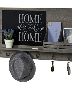 MyGift Rustic Grey Wood Wall Mounted Mail Sorter Rack With 5 Key Hooks And Black Chalkboard 0 300x360