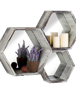 MyGift Rustic Torched Wood Hexagon Wall Mounted Floating Shelves With Mirrored Backing Set Of 3 0 300x360
