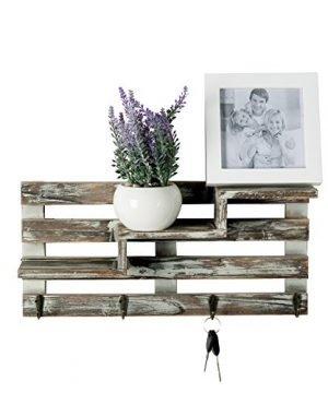 MyGift Rustic Torched Wood Wall Mounted Entryway Organizer Display Shelf Rack With 4 Key Hooks 0 0 300x360