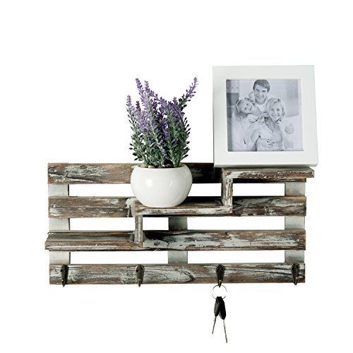 MyGift Rustic Torched Wood Wall Mounted Entryway Organizer Display Shelf Rack With 4 Key Hooks 0 0