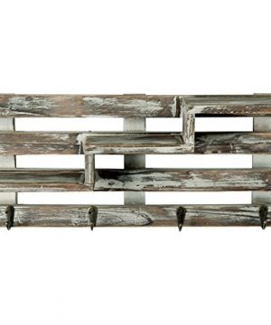 MyGift Rustic Torched Wood Wall Mounted Entryway Organizer Display Shelf Rack With 4 Key Hooks 0 1 300x360