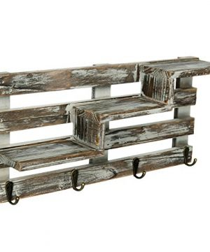 MyGift Rustic Torched Wood Wall Mounted Entryway Organizer Display Shelf Rack With 4 Key Hooks 0 2 300x360