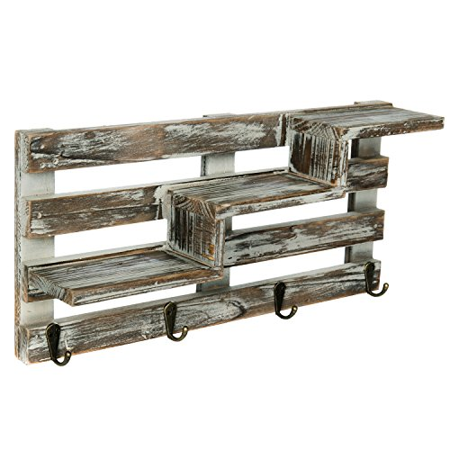 MyGift Rustic Torched Wood Wall Mounted Entryway Organizer Display Shelf Rack With 4 Key Hooks 0 2