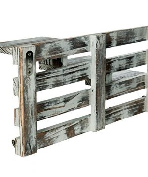 MyGift Rustic Torched Wood Wall Mounted Entryway Organizer Display Shelf Rack With 4 Key Hooks 0 3 300x360
