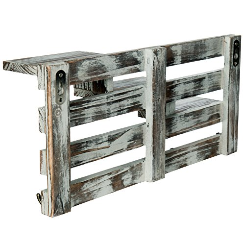 MyGift Rustic Torched Wood Wall Mounted Entryway Organizer Display Shelf Rack With 4 Key Hooks 0 3