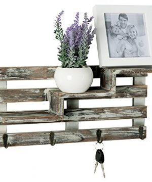 MyGift Rustic Torched Wood Wall Mounted Entryway Organizer Display Shelf Rack With 4 Key Hooks 0 300x360