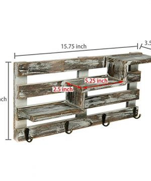 MyGift Rustic Torched Wood Wall Mounted Entryway Organizer Display Shelf Rack With 4 Key Hooks 0 4 300x360