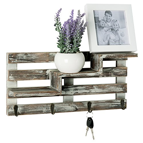 MyGift Rustic Torched Wood Wall Mounted Entryway Organizer Display Shelf Rack With 4 Key Hooks 0