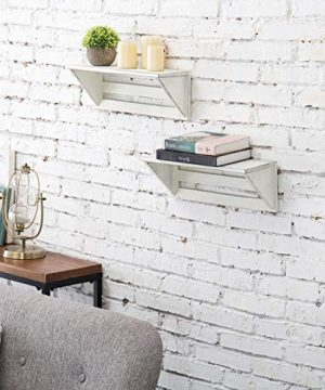 MyGift Set Of 2 Vintage White Wood 17 Inch Wall Mounted Shelves 0 1 300x360