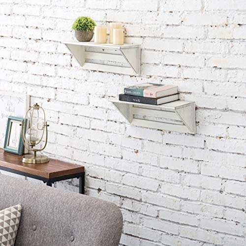 MyGift Set Of 2 Vintage White Wood 17 Inch Wall Mounted Shelves 0 1