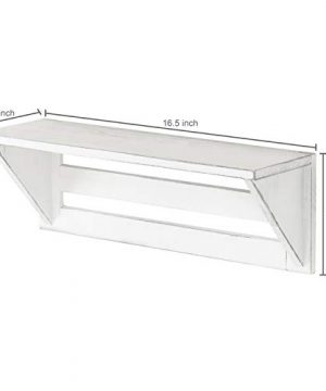 MyGift Set Of 2 Vintage White Wood 17 Inch Wall Mounted Shelves 0 2 300x360
