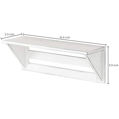 MyGift Set Of 2 Vintage White Wood 17 Inch Wall Mounted Shelves 0 2