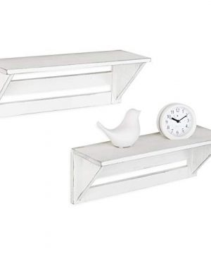 MyGift Set Of 2 Vintage White Wood 17 Inch Wall Mounted Shelves 0 3 300x360