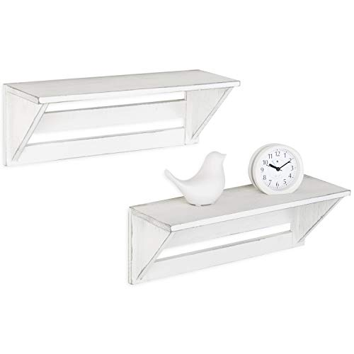 MyGift Set Of 2 Vintage White Wood 17 Inch Wall Mounted Shelves 0 3