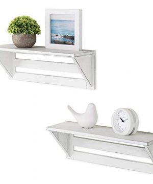 MyGift Set Of 2 Vintage White Wood 17 Inch Wall Mounted Shelves 0 300x360