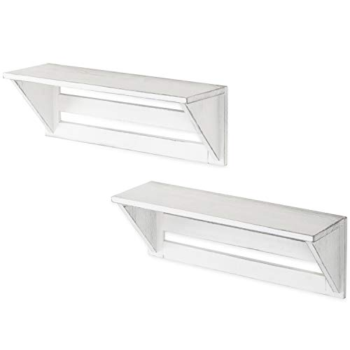 MyGift Set Of 2 Vintage White Wood 17 Inch Wall Mounted Shelves 0 4
