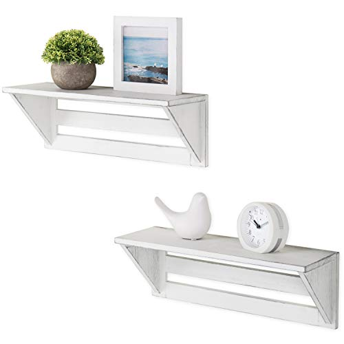 MyGift Set Of 2 Vintage White Wood 17 Inch Wall Mounted Shelves 0