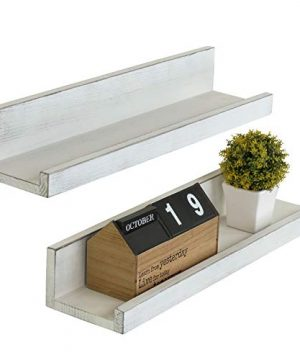 MyGift Set Of 2 Vintage White Wood 24 Inch Wall Mounted Ledge Shelves 0 300x360