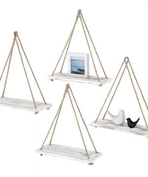 MyGift Set Of 4 Rustic Whitewashed Wood Rope Hanging Swing Wall Shelves 0 300x360