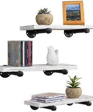 MyGift Urban Rustic Whitewashed Wood Metal Pipe Wall Mounted Floating Shelves Set Of 3 0 300x360