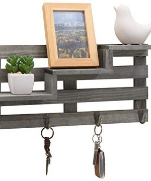 MyGift Vintage Gray Wood Wall Mounted 3 Tiered Stair Display Shelf With 4 Key Hooks 0 300x360