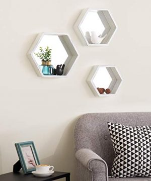 MyGift Vintage White Hexagon Wall Mounted Floating Shelves With Mirrored Backing Set Of 3 0 0 300x360