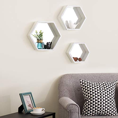 MyGift Vintage White Hexagon Wall Mounted Floating Shelves With Mirrored Backing Set Of 3 0 0