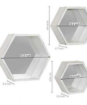 MyGift Vintage White Hexagon Wall Mounted Floating Shelves With Mirrored Backing Set Of 3 0 1 300x360