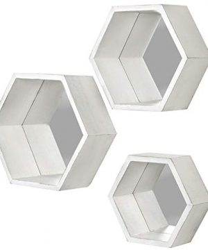 MyGift Vintage White Hexagon Wall Mounted Floating Shelves With Mirrored Backing Set Of 3 0 2 300x360