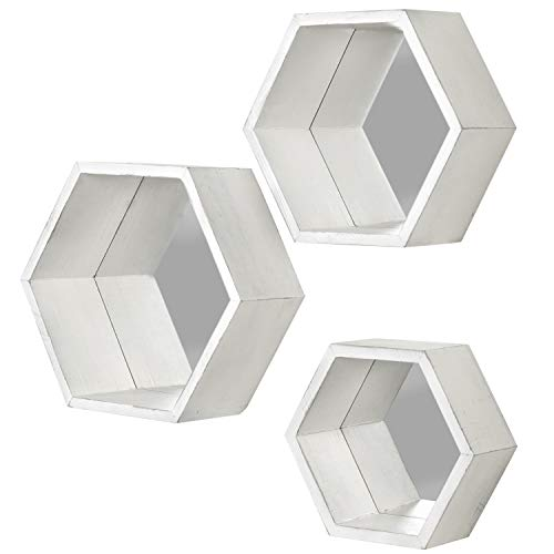 MyGift Vintage White Hexagon Wall Mounted Floating Shelves With Mirrored Backing Set Of 3 0 2